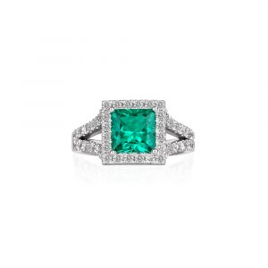 Emerald Halo Ring - Shannakian Fine Jewellery