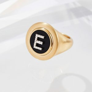 Shannakian Onyx Diamond Initial Ring