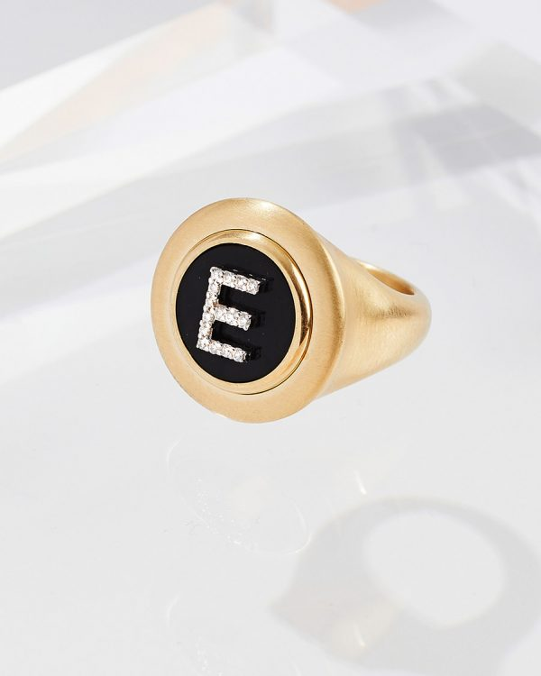 Shannakian Onyx Diamond Initial Ring - Shannakian Fine Jewellery