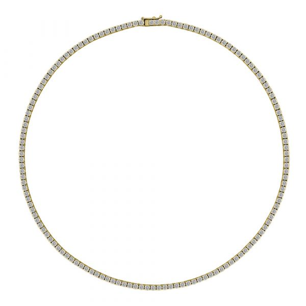 Diamond Tennis Necklace Yellow Gold