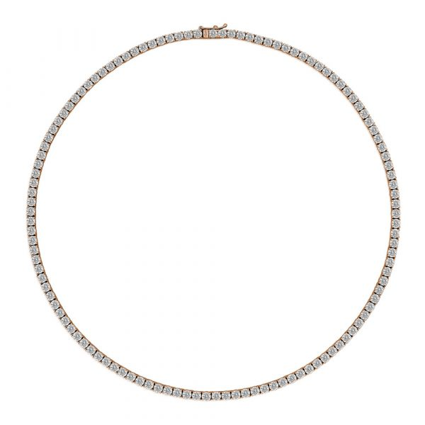 Diamond Tennis Necklace Rose Gold