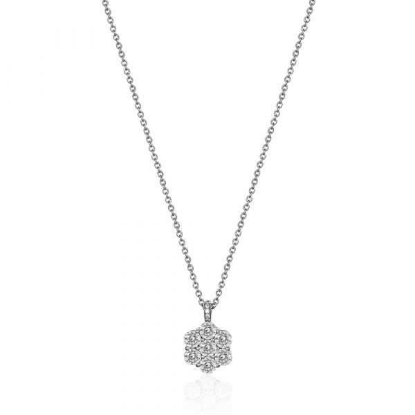 Diamond flower pendent necklace white gold