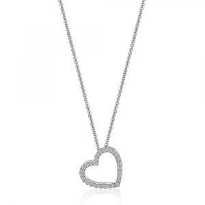 Diamond Heart Pendent Necklace White Gold
