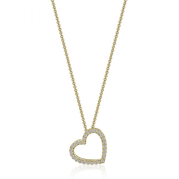Diamond Heart Pendent Necklace Yellow Gold