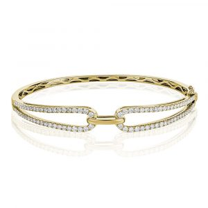 Diamond Open Loop Bangle Yellow Gold