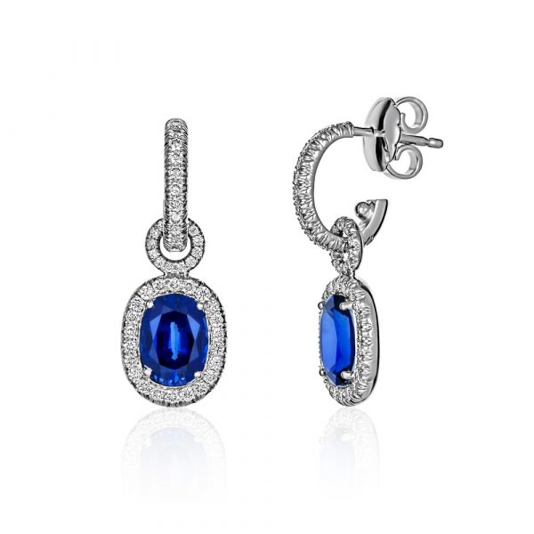 Blue Biron Sapphire Diamond Cocktail Earrings