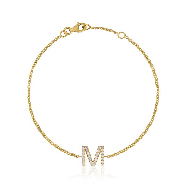 Diamond Initial Bracelet M Yellow Gold