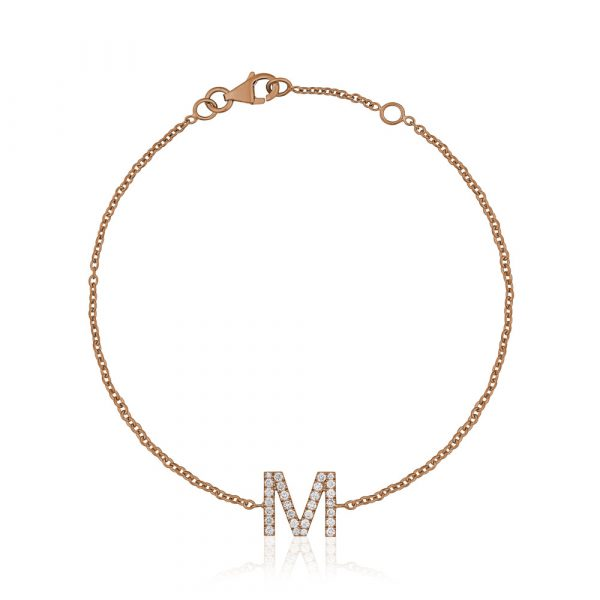 Diamond Initial Bracelet M Rose Gold