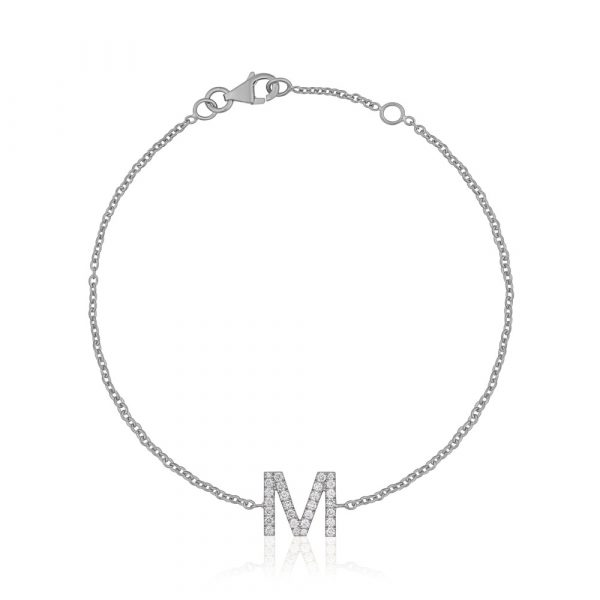 Diamond Initial Bracelet M White Gold