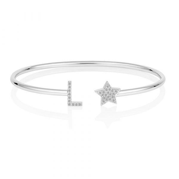 Diamond Initial Star Bangle White Gold