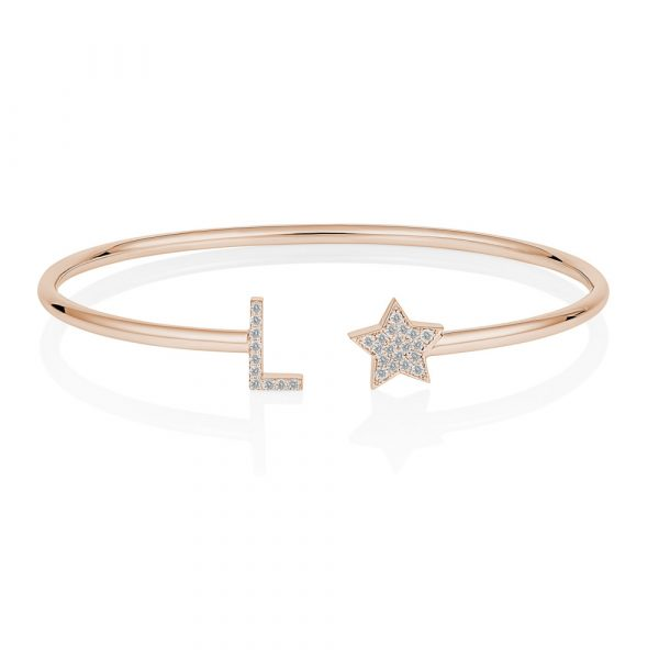 Diamond Initial Star Bangle Rose Gold