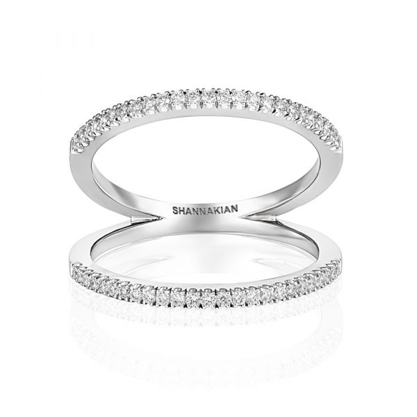 Diamond Z Ring White Gold