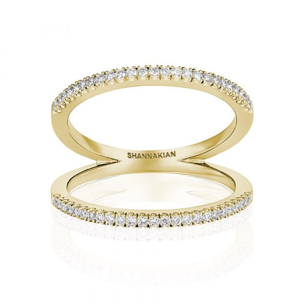 Diamond V Ring Yellow Gold