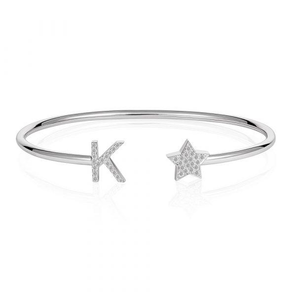 Diamond K Initial Bangle White Gold
