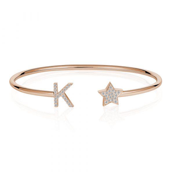 Diamond Initial K Bangle Rose Gold