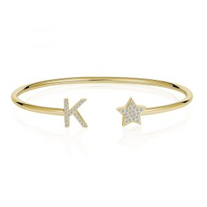 Diamond Initial K Bangle Yellow Gold