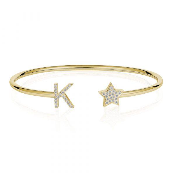 Diamond Initial K Bangle Yellow Gold