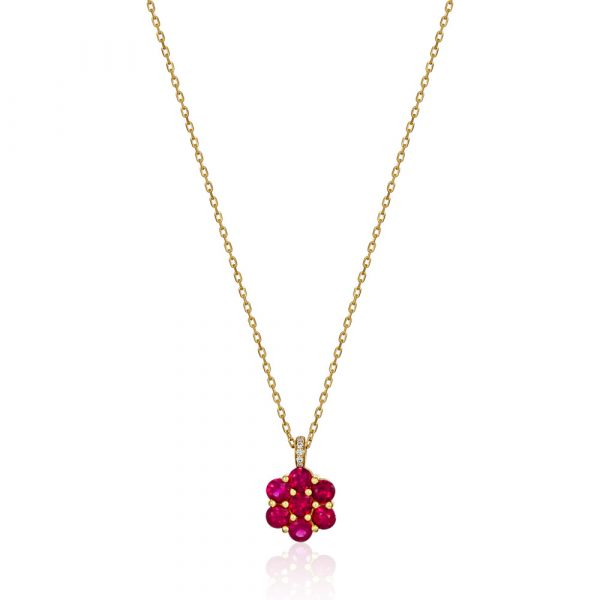 Ruby flower pendent necklace yellow gold