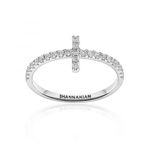 Diamond cross wing white gold