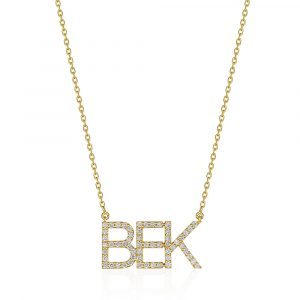 Triple Initial Diamond Pendant Necklace