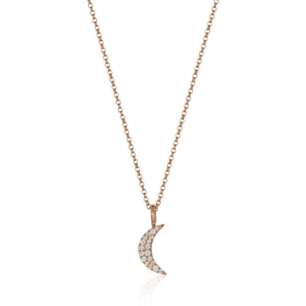 Diamond Crescent Moon Necklace Rose Gold