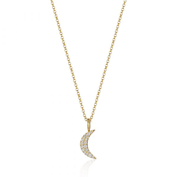 Moon Necklace Yellow Gold