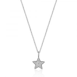 Diamond Star Necklace White Gold