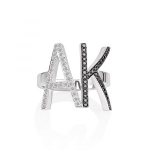 Black and white diamond double initial ring