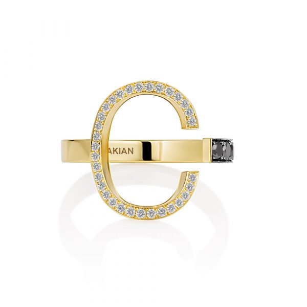 Single Black & White DIamond Initial Ring