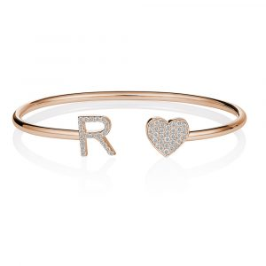 Diamond Initial Heart Bangle