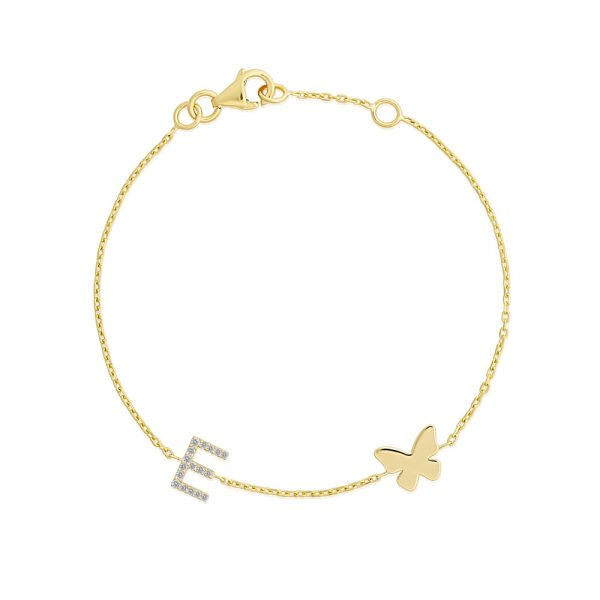 Diamond initial butterfly childrens bracelet