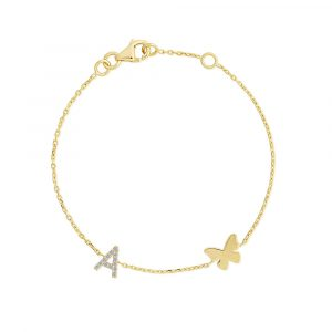 Diamond initial butterfly childrens bracelet