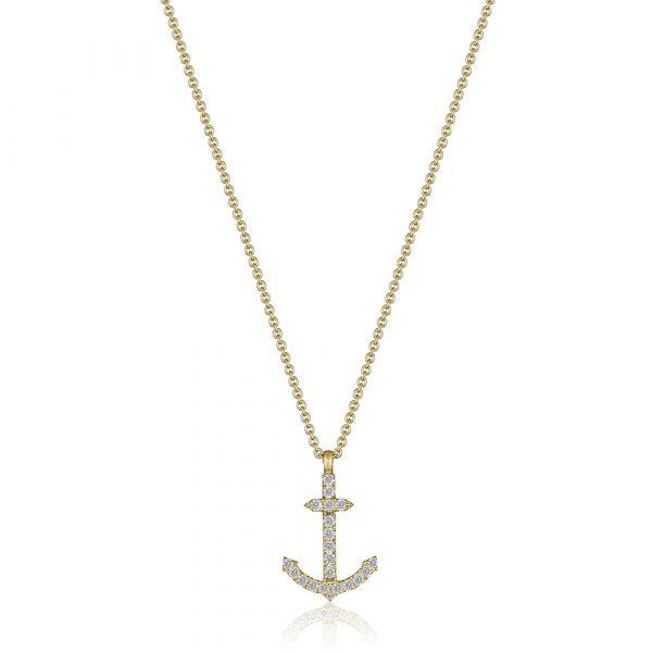Diamond Anchor Pendant Yellow Gold
