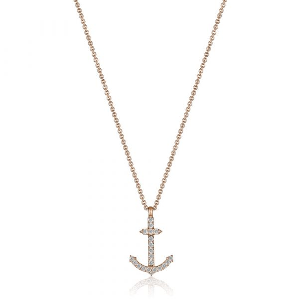 Diamond Anchor Pendant Rose Gold