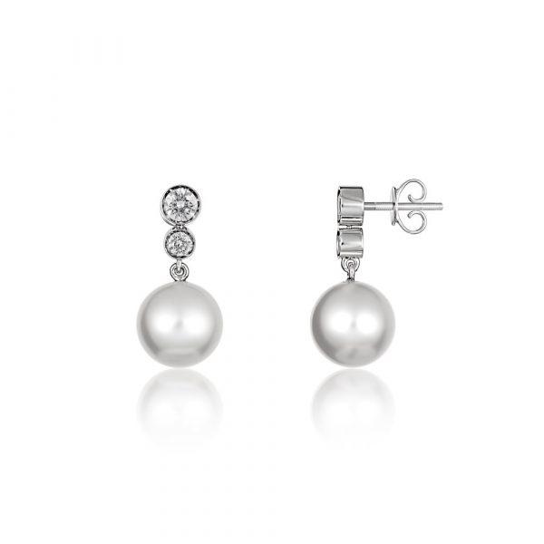 Diamond Pearl Drop Earrings White Gold