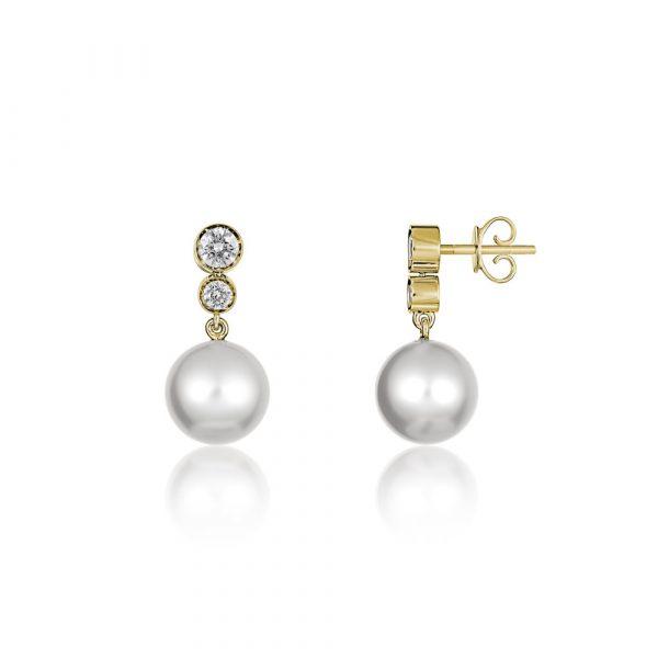 Diamond Pearl Drop Earrings Yellow Gold