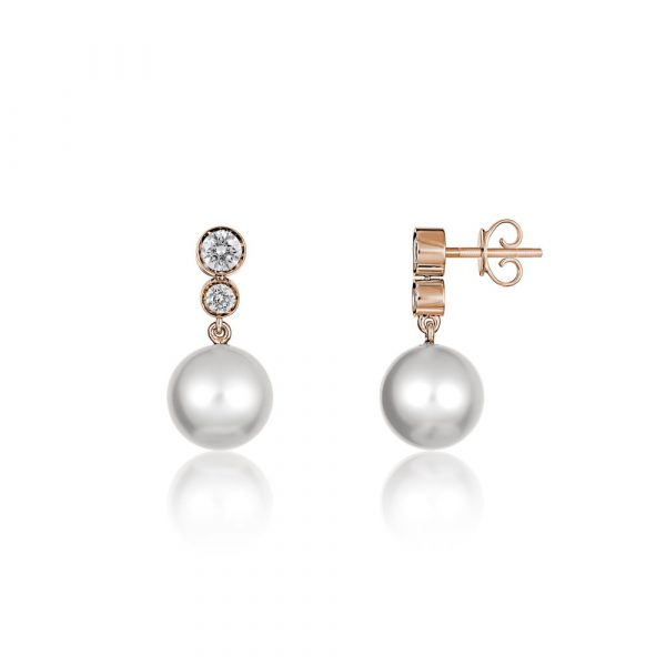 Diamond Pearl Drop Earrings Rose Gold